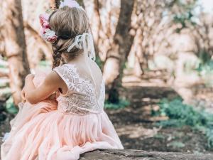 Girls Peach Pink Chloe Sleeveless Dress