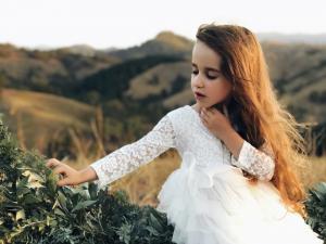 Girls White Bella Full Length Lace Back Dress