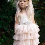 Girls Mid Length Moca Lace Tutu Dress and Cream Diamonte Belt
