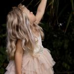 Girls Mid Length Mocha Lace Tutu Dress and Cream Diamonte Belt