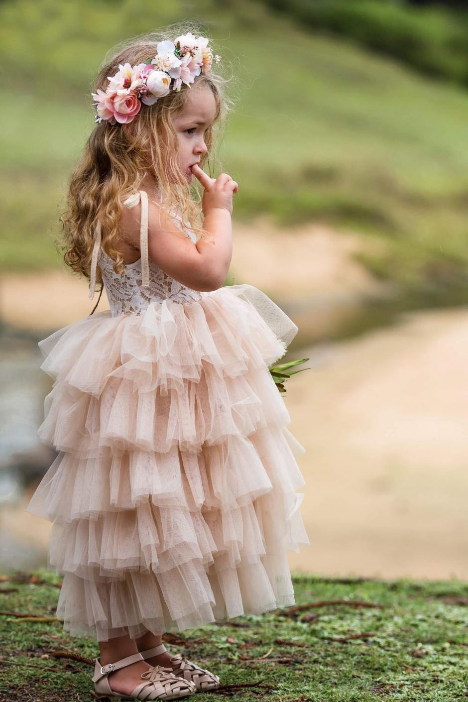 Mid Length Mocha Lace Tutu Dress Arabella And Rose