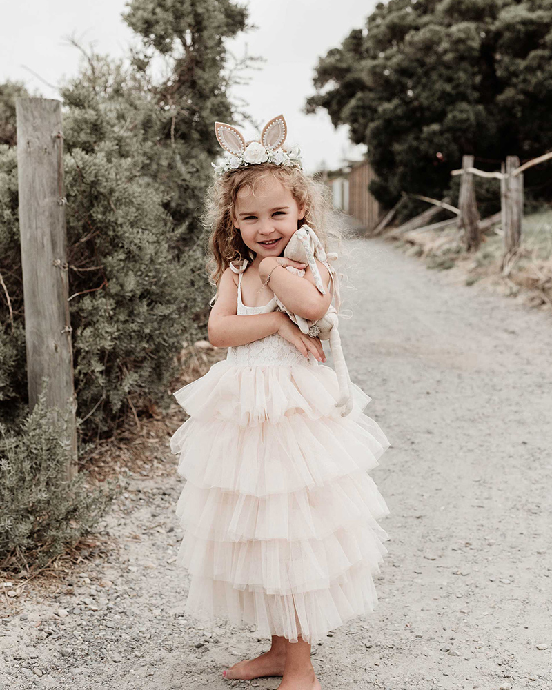 Mid Length Mocha Lace Tutu Dress Natural Bunnykins Ears1