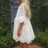 Girls White Elizabeth Broderie Anglaise Flower Girl Dress