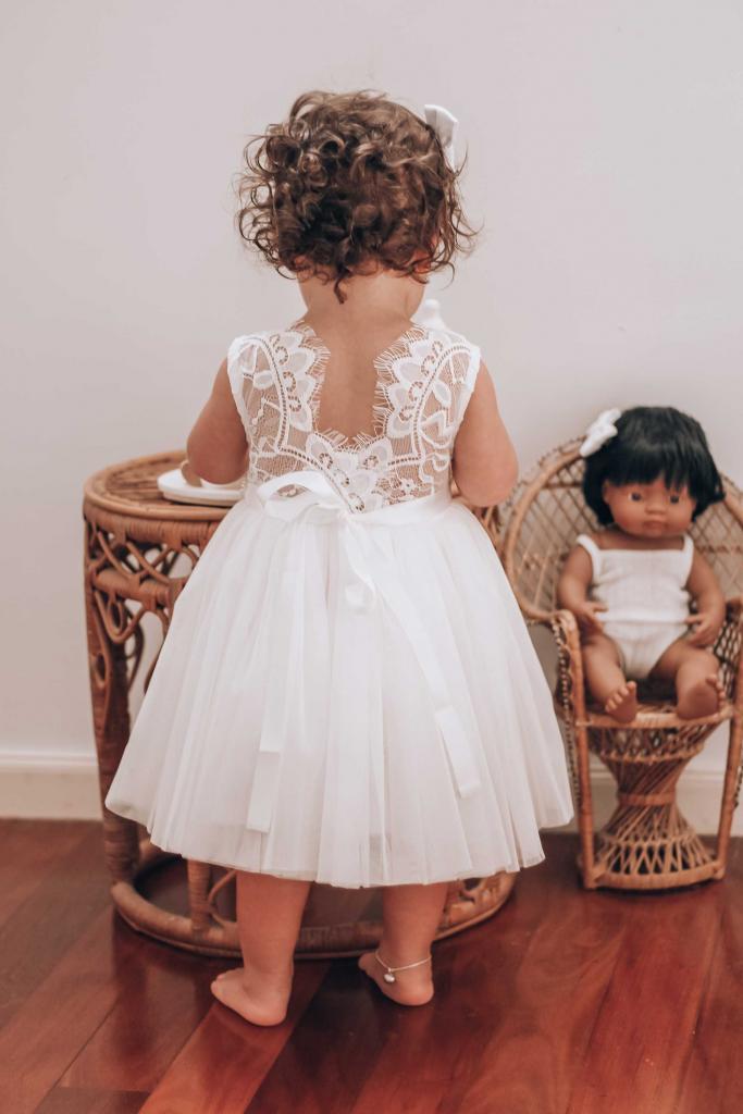 Girls White Chloe Sleeveless Dress Arabella And Rose