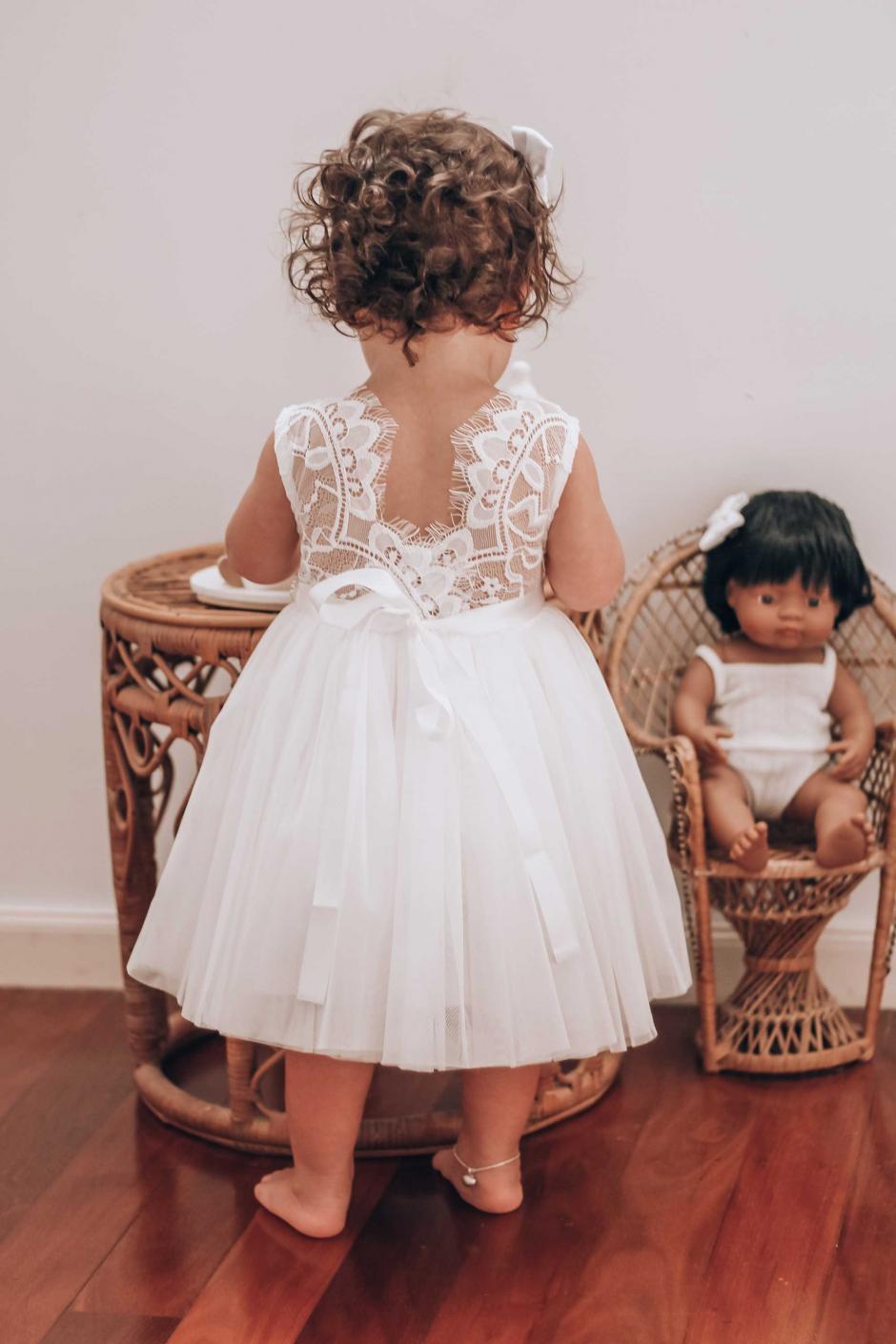 Girls White Chloe Lace Back Dress
