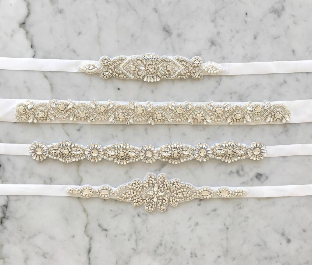Girls Diamonte Belts White Ribbon