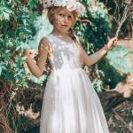 Girls French Isabel White Lace Back Dress