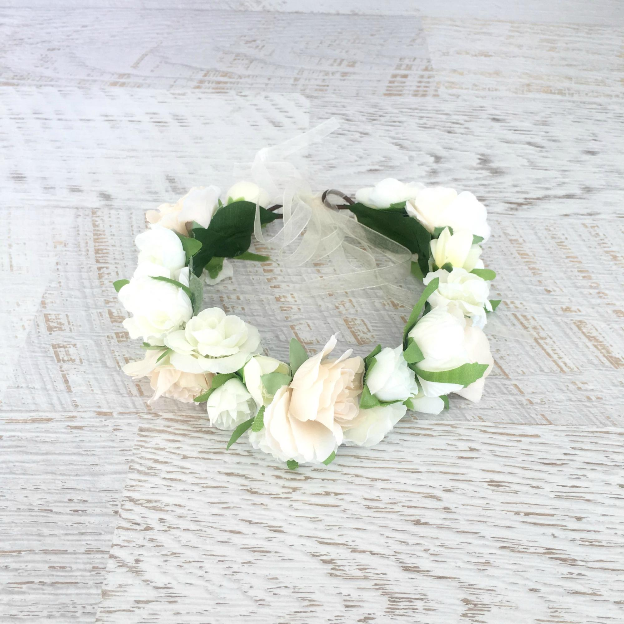 Flatlay of the Chantilly Flower Crown