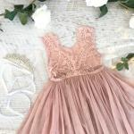 Girls Dusty Rose French Chloe Sleeveless Dress
