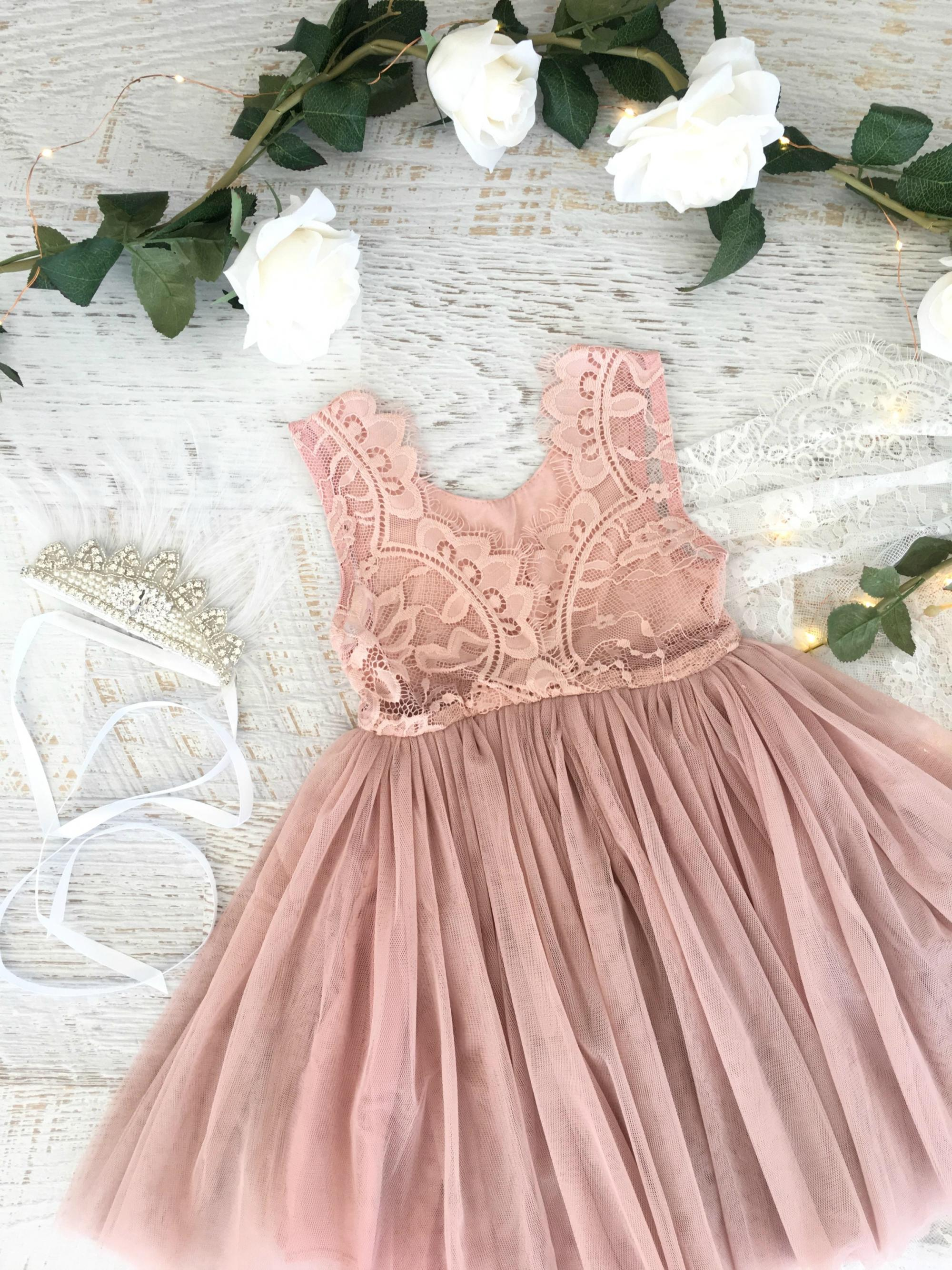 Flatlay of the Dusty Rose French Chloe Dress back