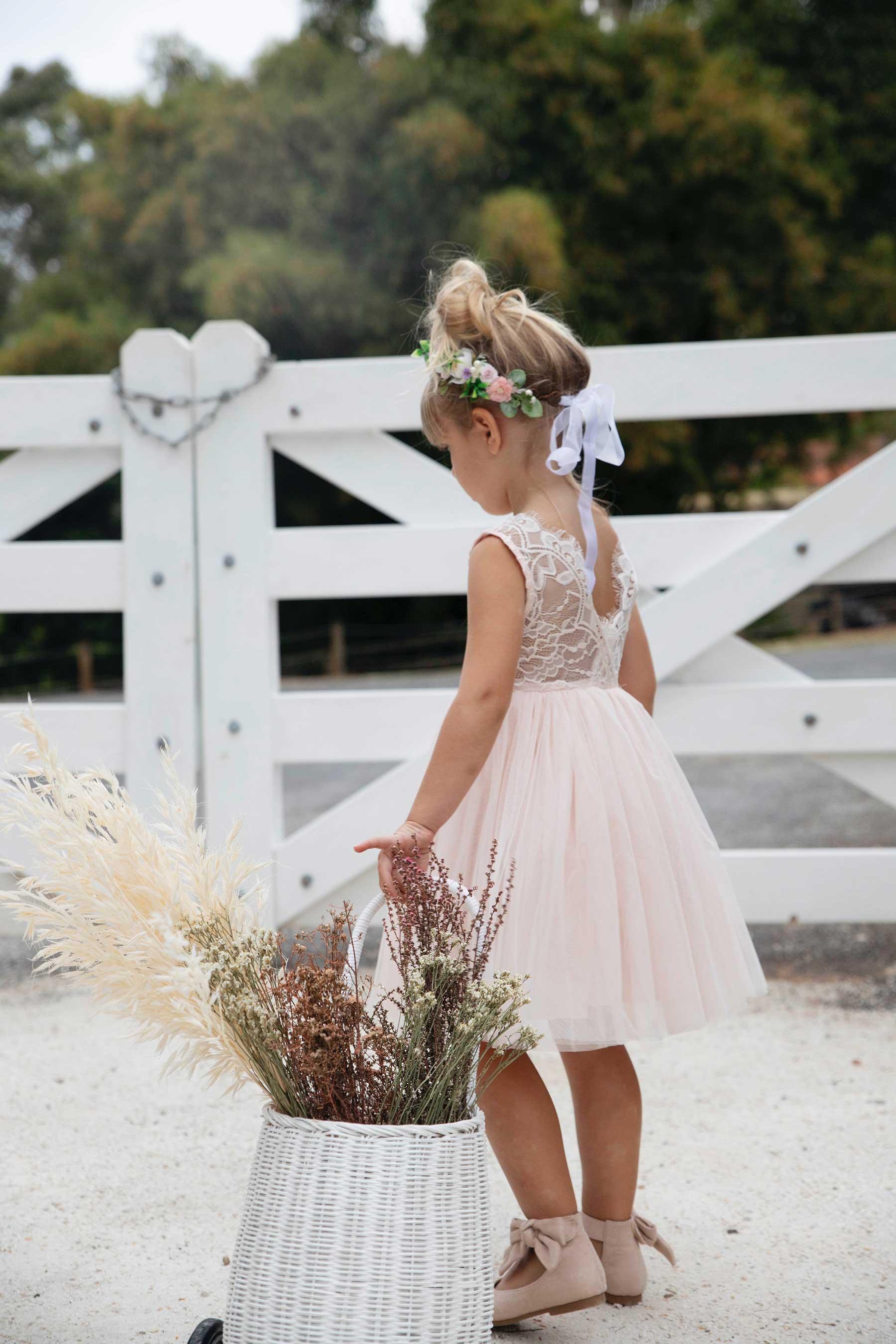 Light Peach Chloe Lace Back Dress