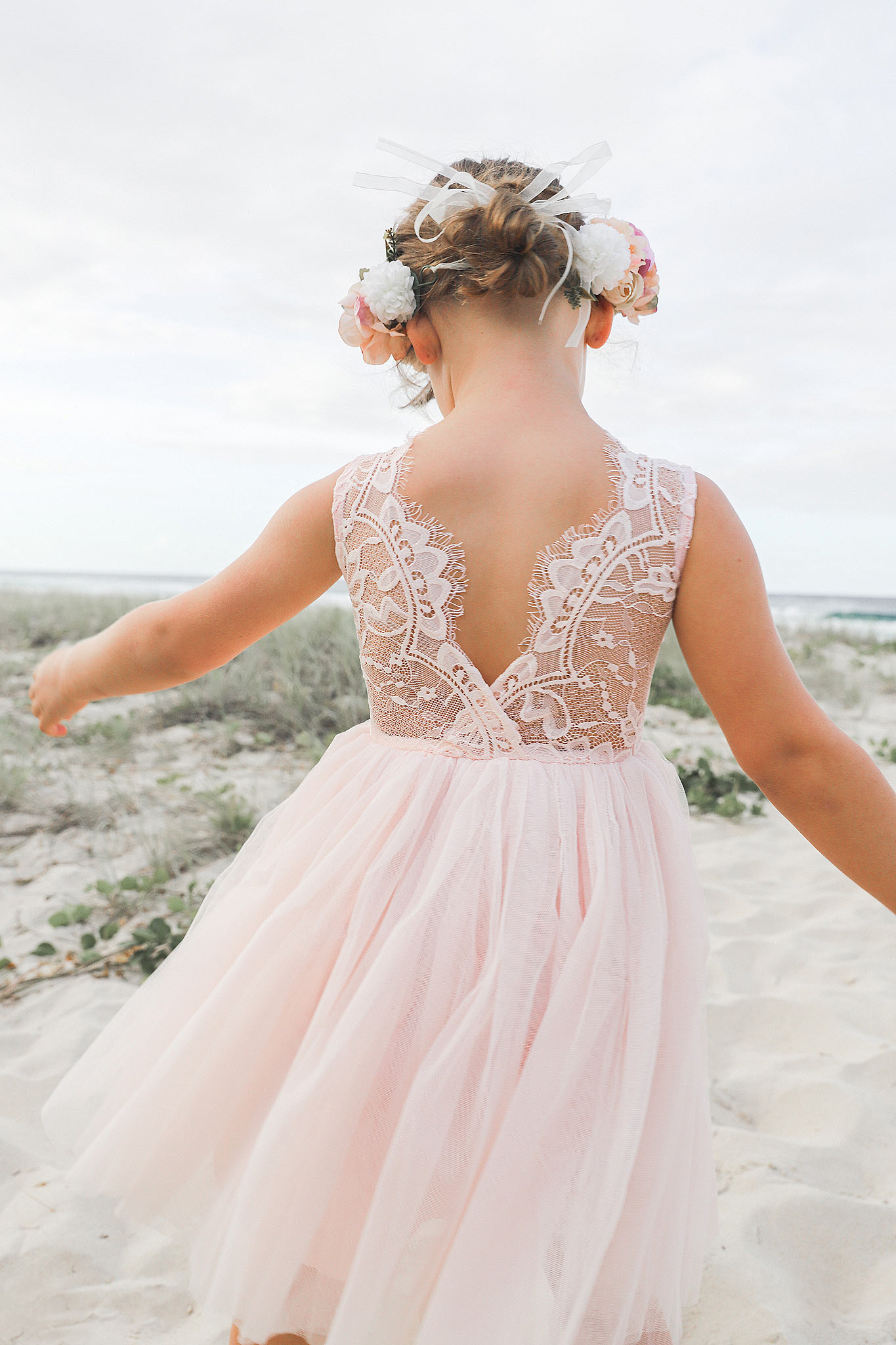 Peach Chloe Lace Back Dress2