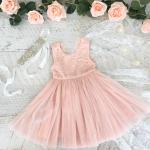 Girls Light Peach French Chloe Sleeveless Dress