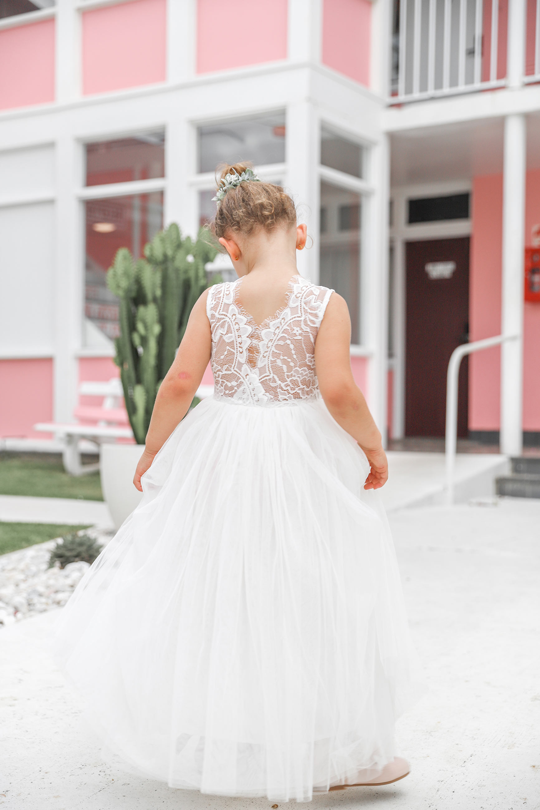Girls French Isabel White Lace Back Flower Girl Dress