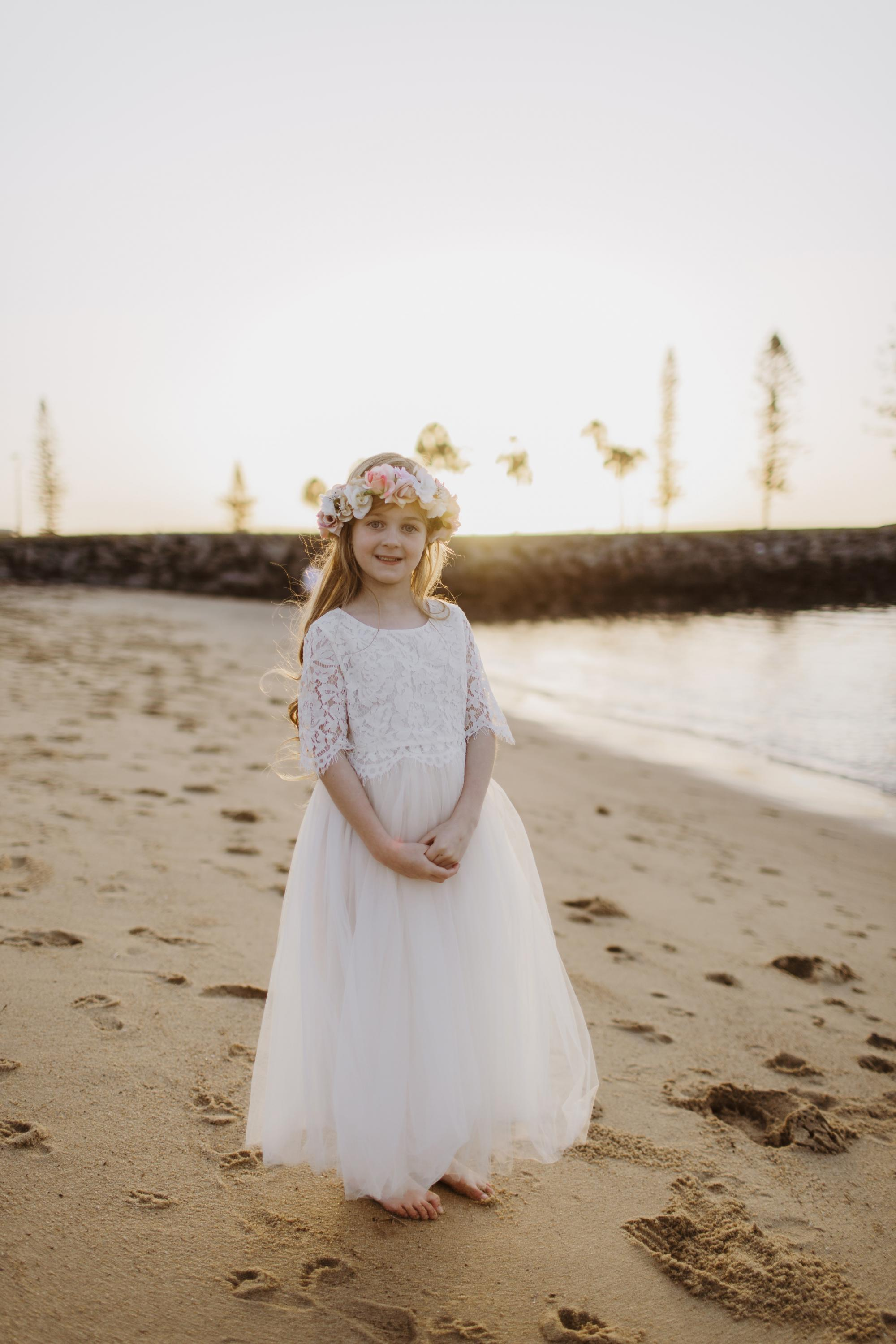 Front of the Aurora Lace Top and Ivory Eden Tulle Skirt