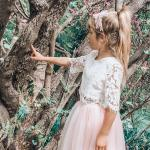 Girls White Aurora Lace Top and Dusty Pink Eden Tulle Skirt