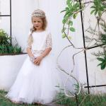 Girls White Eden Tulle Skirt and Aurora Lace Top