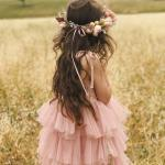 Girls Briar Rose Mid Length Dress and Peach Sorbet Flower Crown