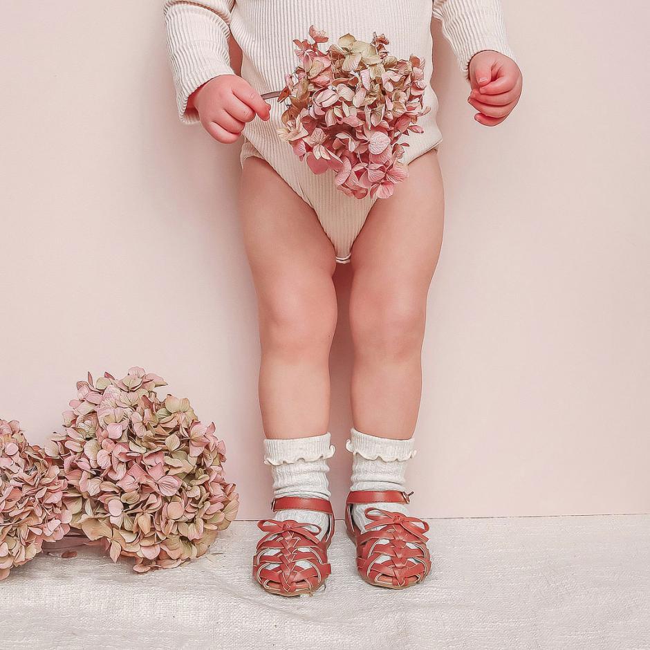 Tan Polly Shoes Beige Speckle Socks