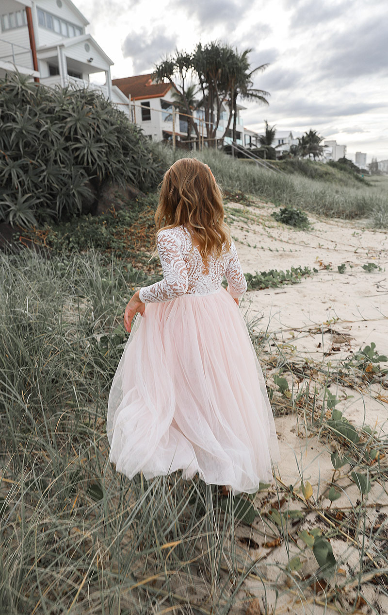 Light Peach Swan Long Sleeve Lace Back Dress5