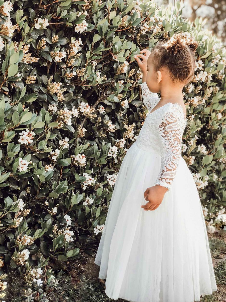 Swan White Long Sleeve Lace Back Dress3