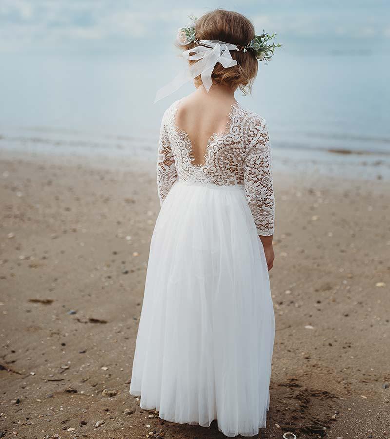 Girls White Swan Lace Back Dress