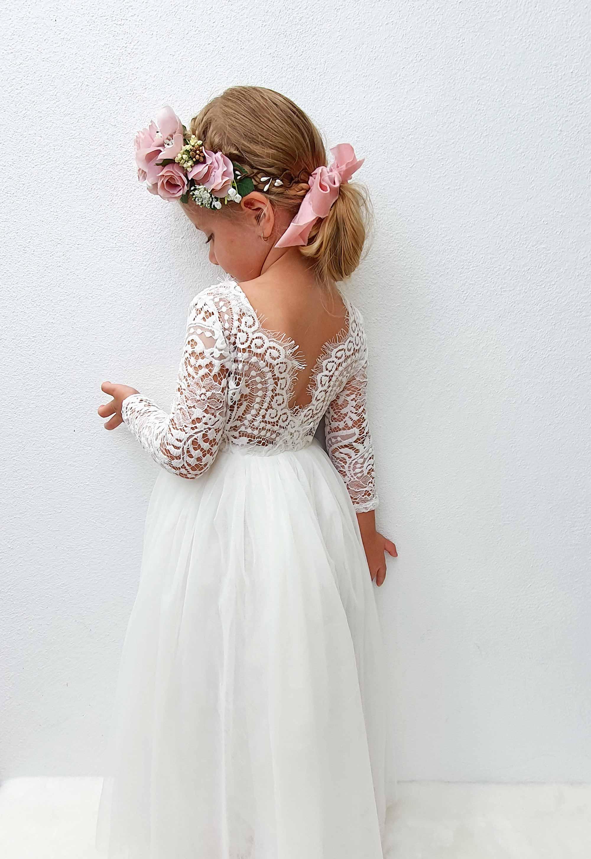 White Swan Long Sleeve Lace Back Dress1