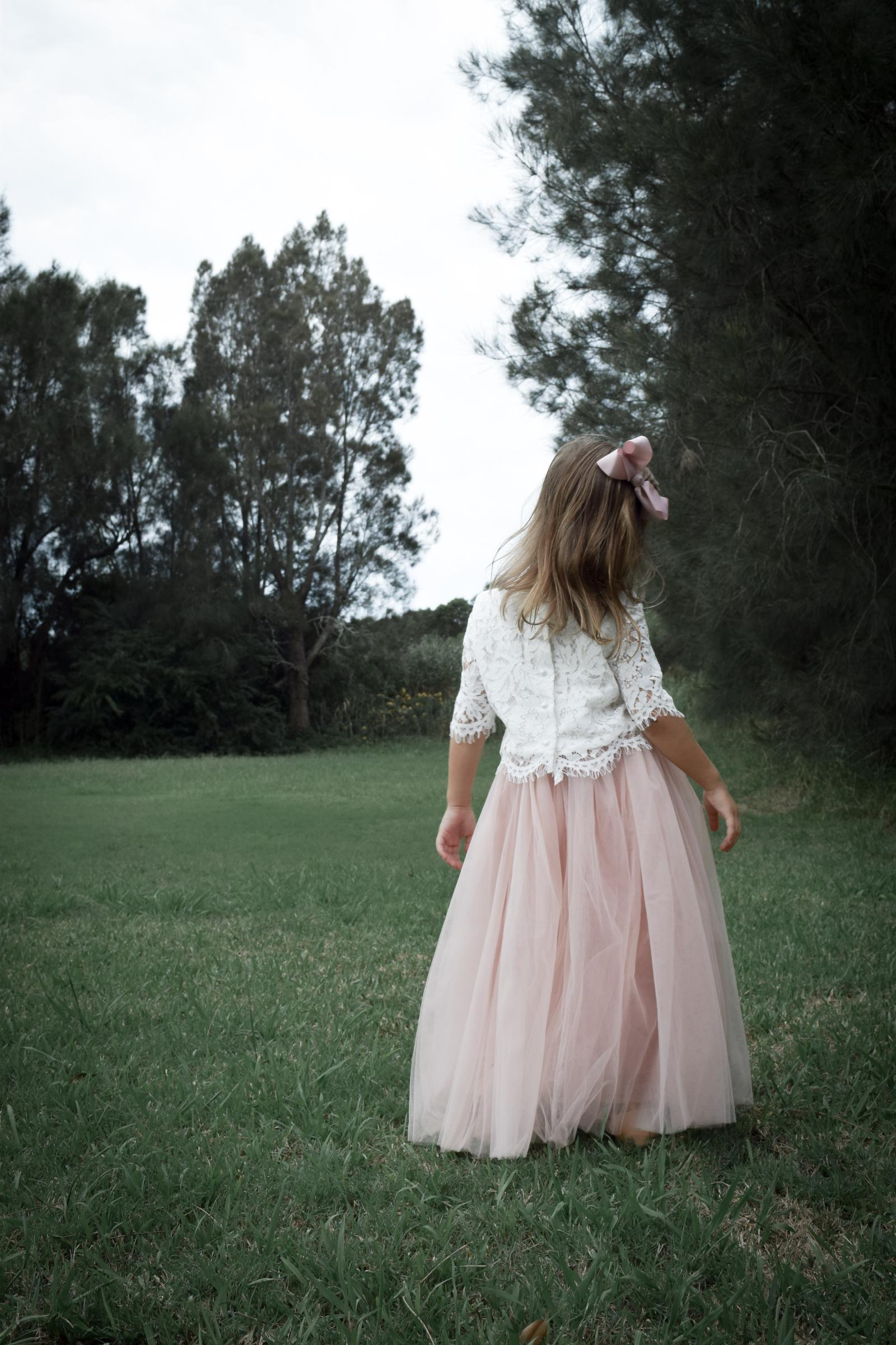 Back of the Dusty Rose Eden Tulle Skirt and Aurora Lace Top