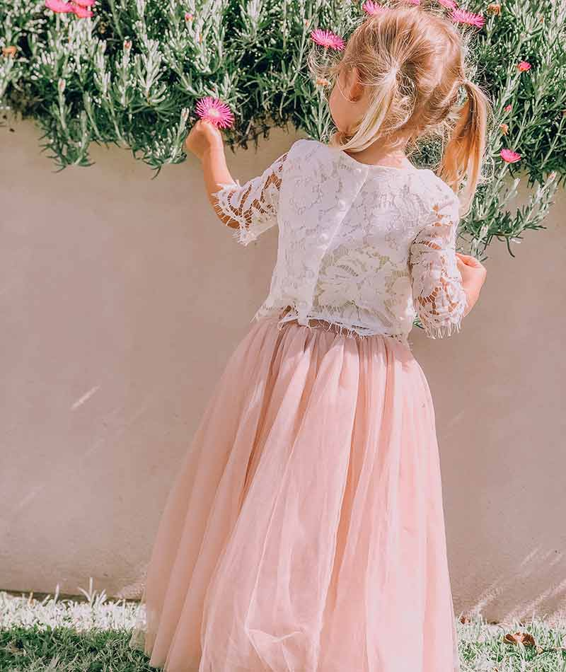 Dusty Rose Eden Tulle Skirt Aurora Lace Top Thumb