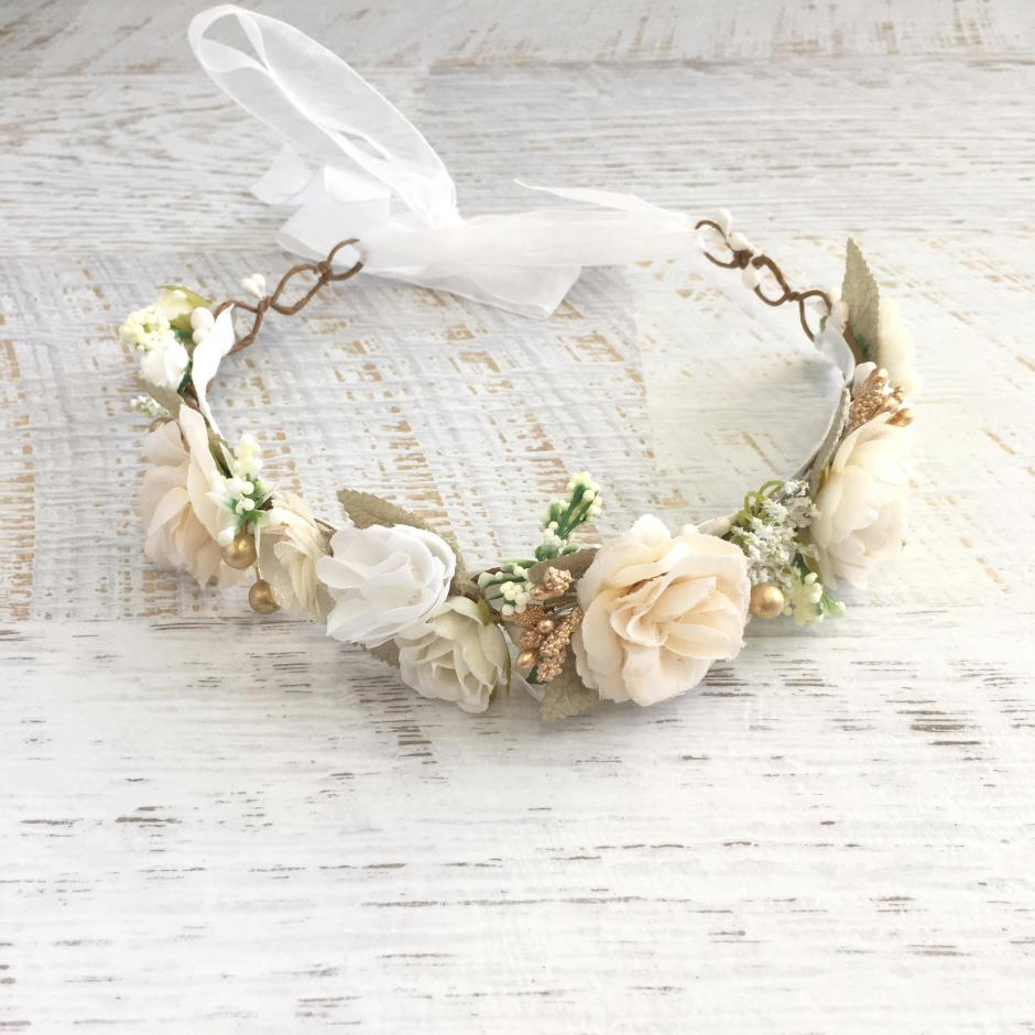 Girls Alora Cream Ivory Flower Crown