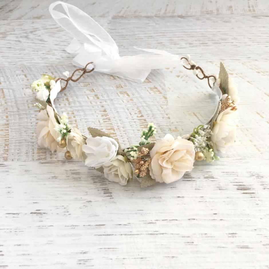 Girls Alora Cream Ivory Flower Crown For Flower Girl Dress