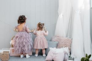 Girls Mauve Bella and French Rose Clara Lace Back Dress