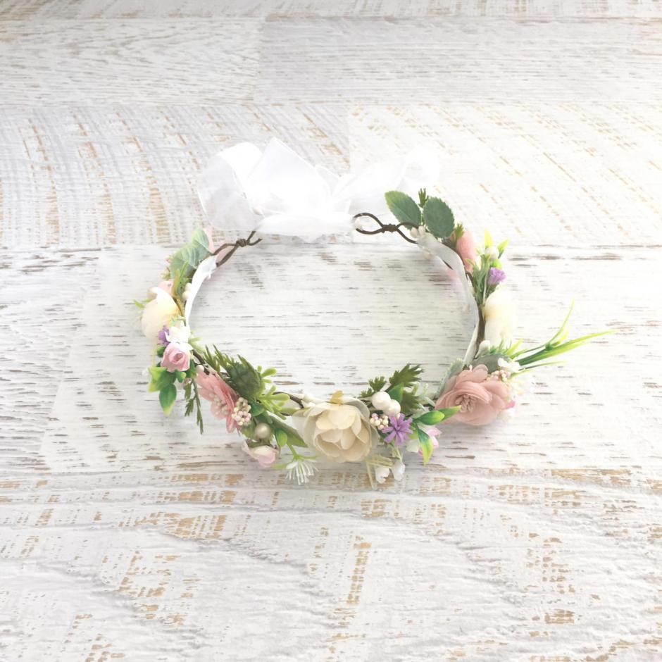 Girls Ramona Dusty Pink Flower Crown For Flower Girl Dress