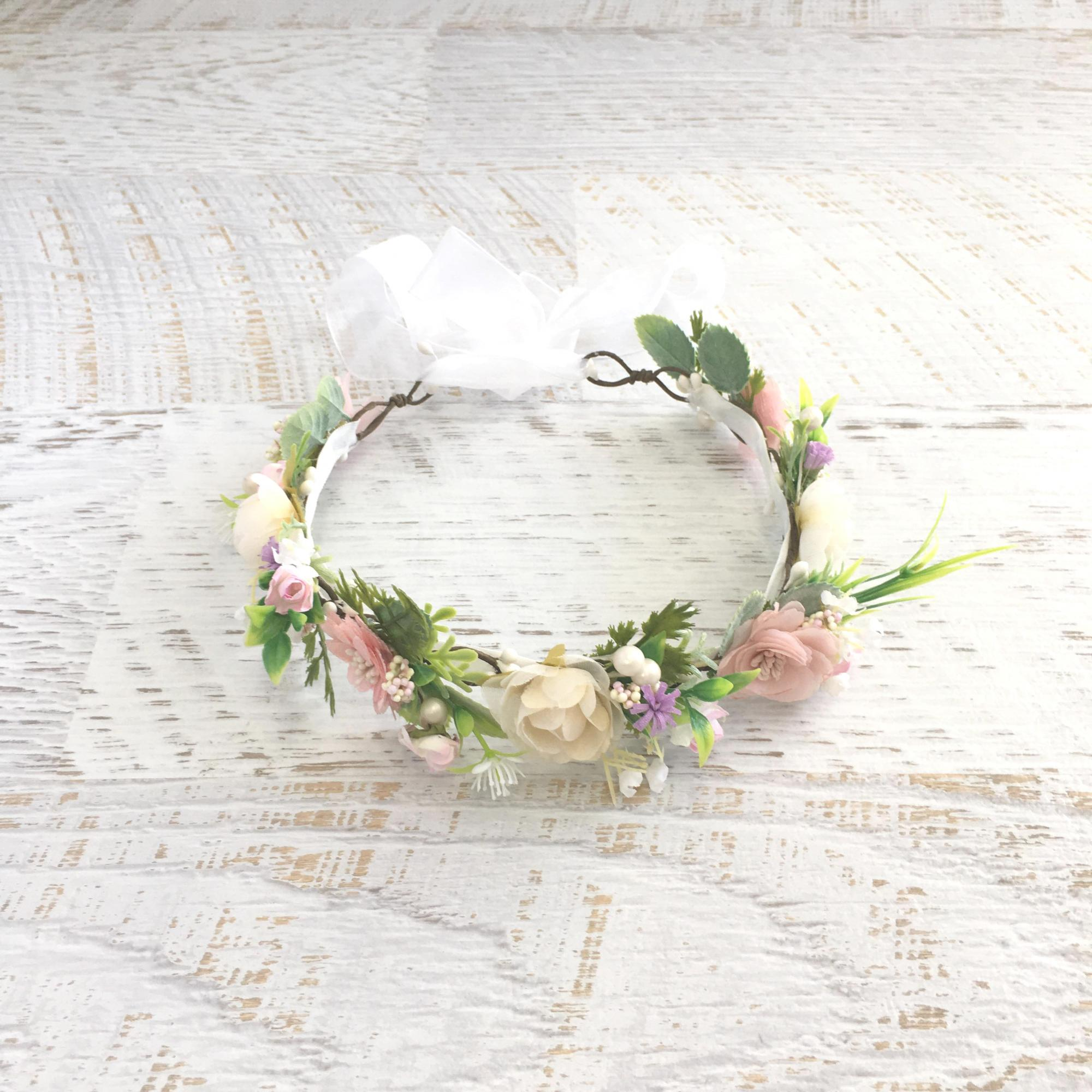 Flatlay of the Ramona Flower Crown