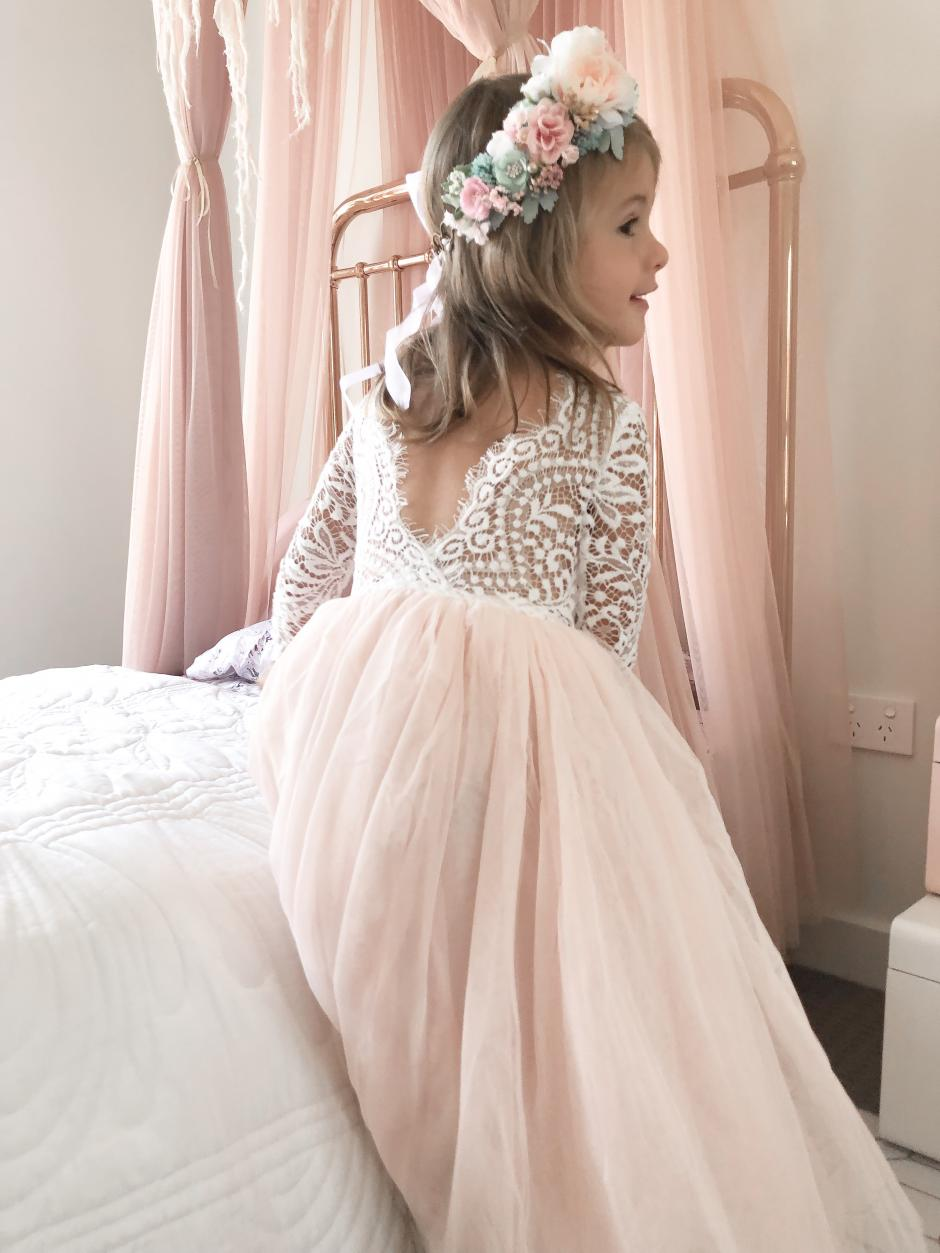 Girls Light Peach Swan Lace Back Dress and Pastel Haven Flower Crown