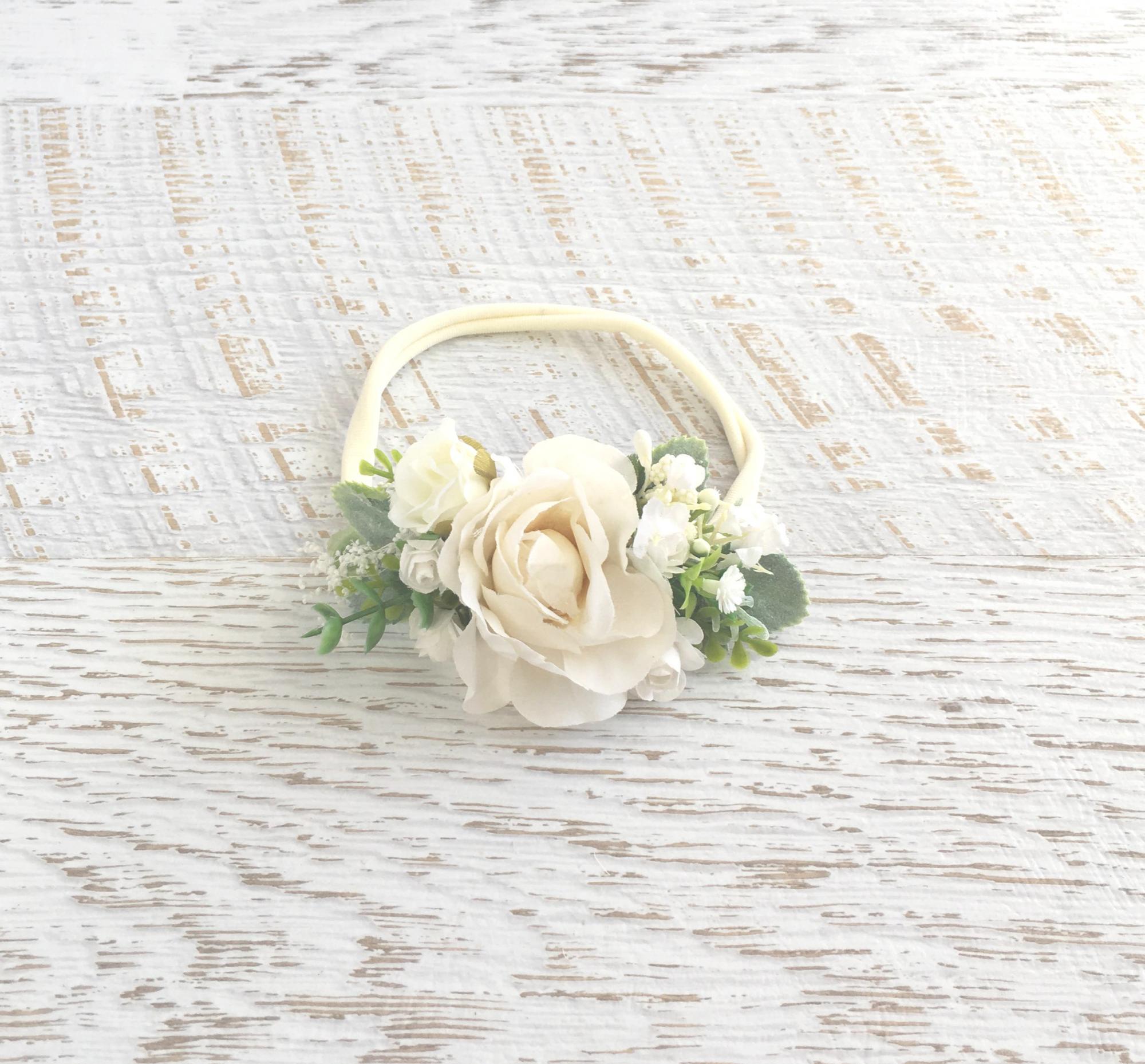 Flatlay of the Farah Flower Stretch Headband