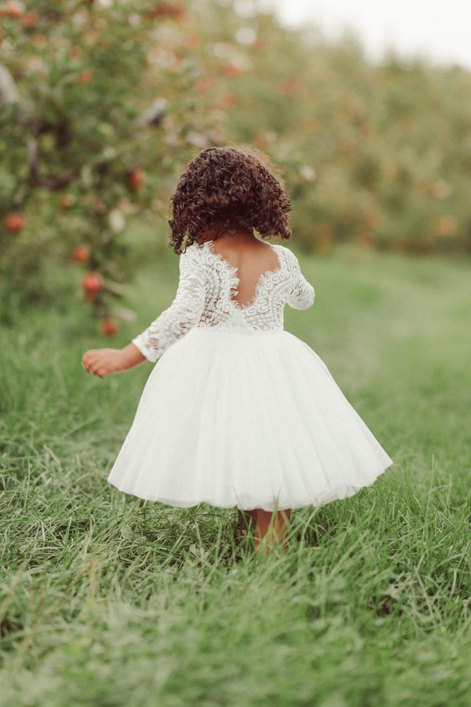 Girls Giselle White Lace Back Flower Girl Dress
