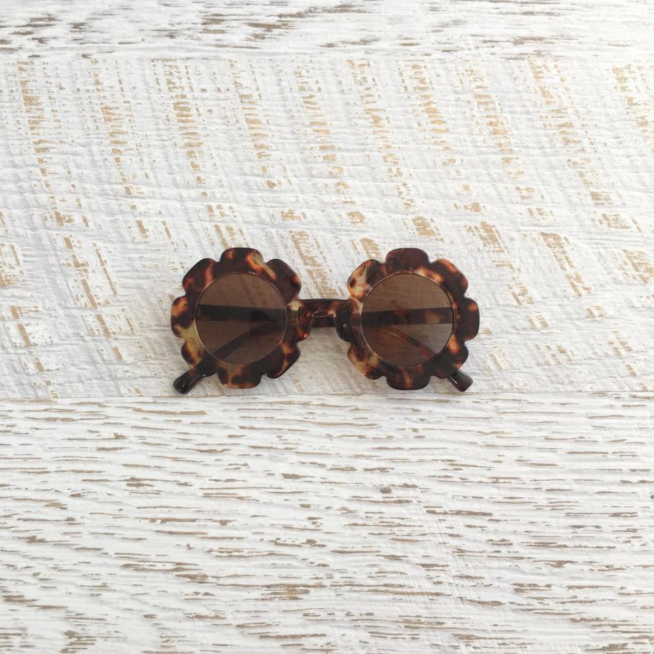 Girls Tortoise Shell Flower Child Sunglasses