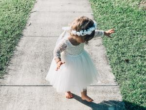 Girls Giselle White Lace Back Dress and Snow White Flower Crown
