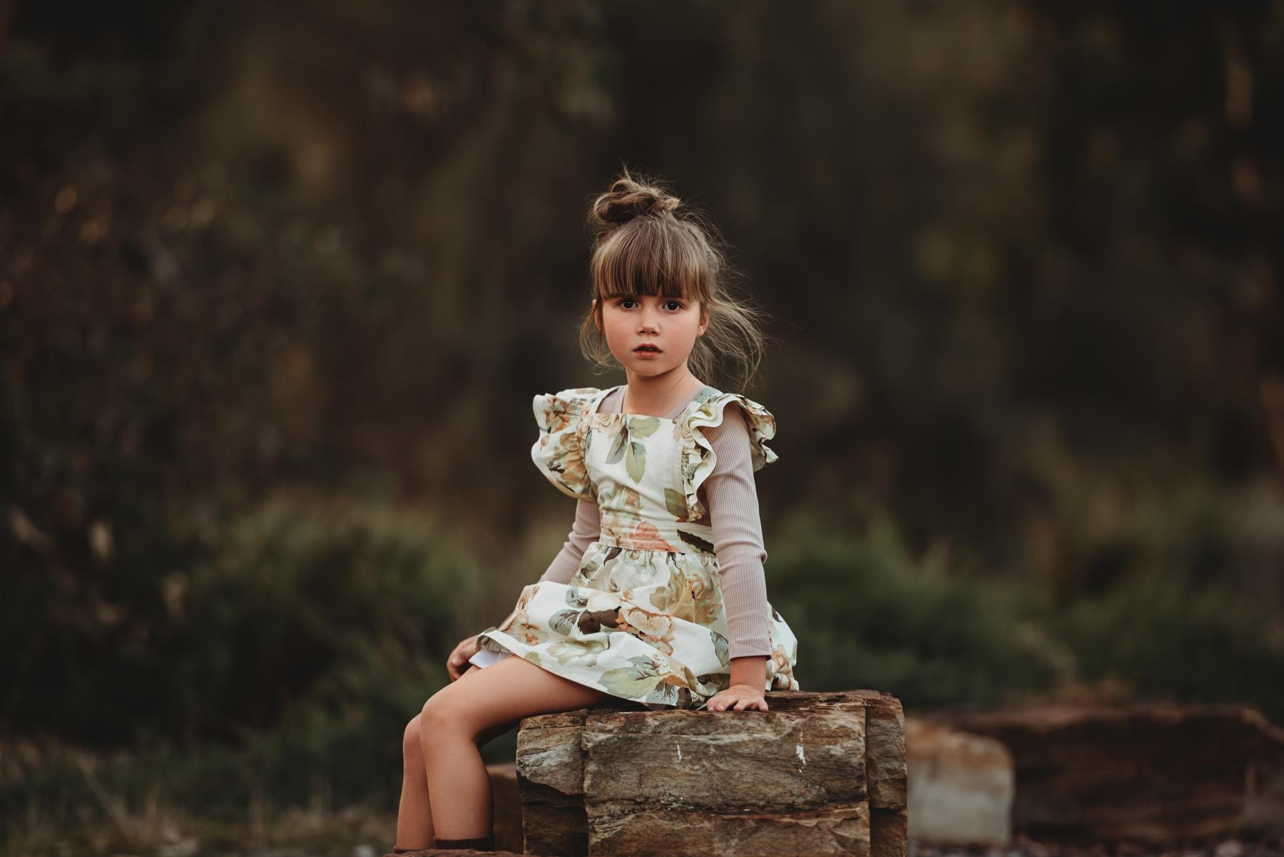Girls Luxe Sage Floral Pinafore and Sparrow Mocha Ribbed Bodysuit