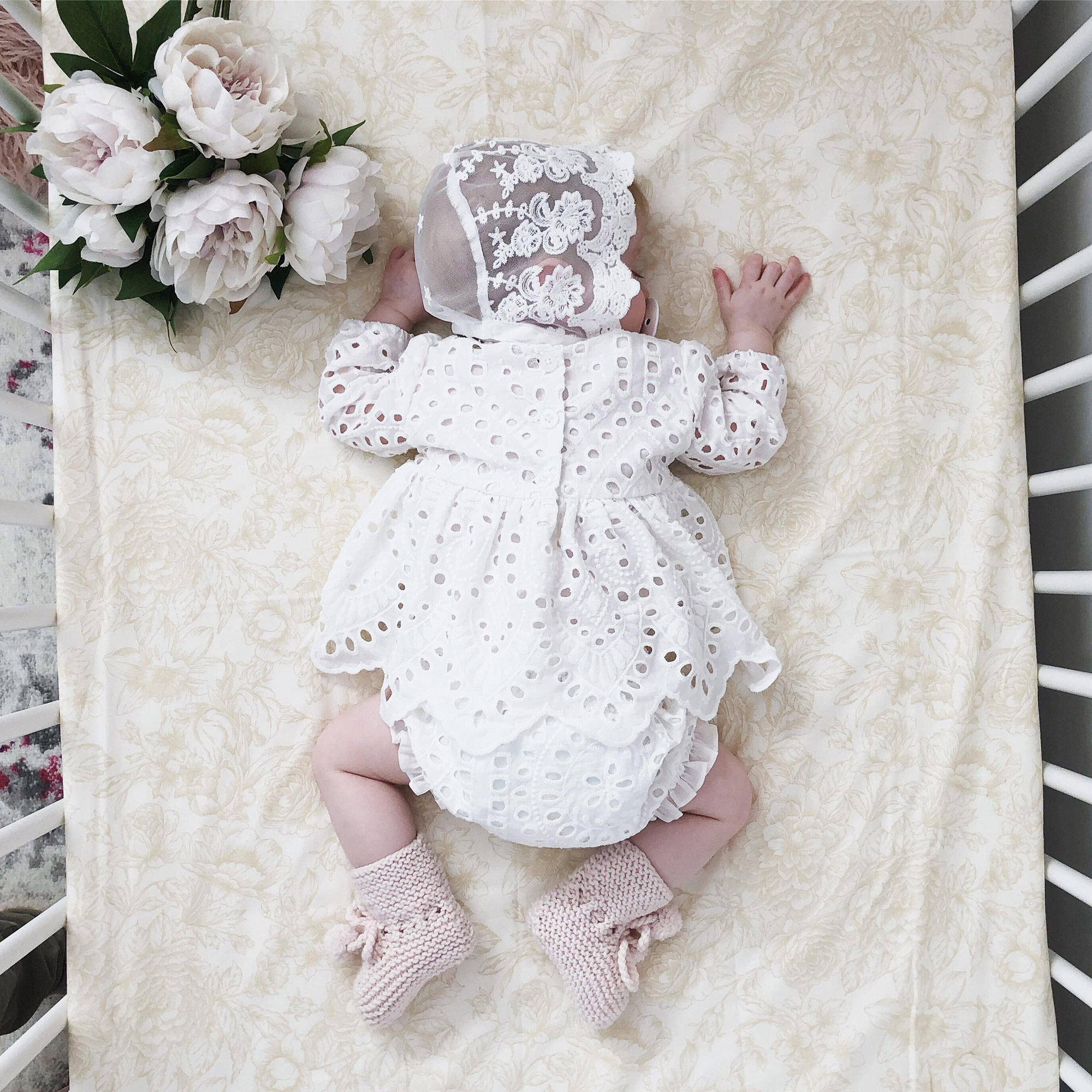 Odette wearing the White Ivy Broderie Anglaise 2 Piece Set