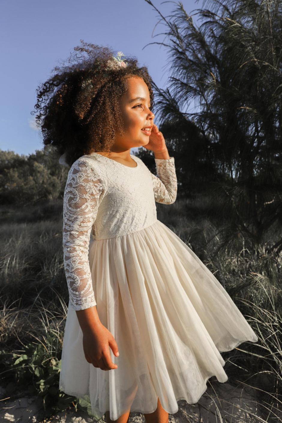 Loralai Light Champagne Lace Back Flower Girl Dress