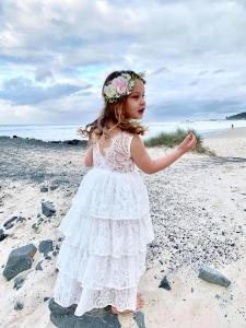 Girls White Odette Lace Tiered Dress