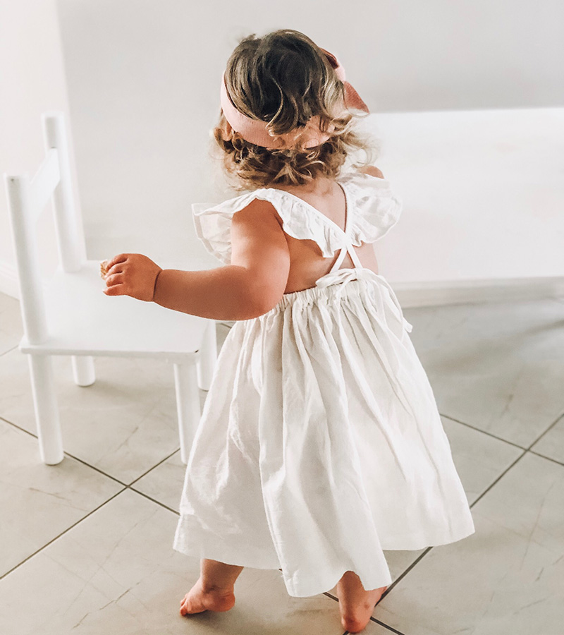 Girls Valerie White Linen Ruffle Dress
