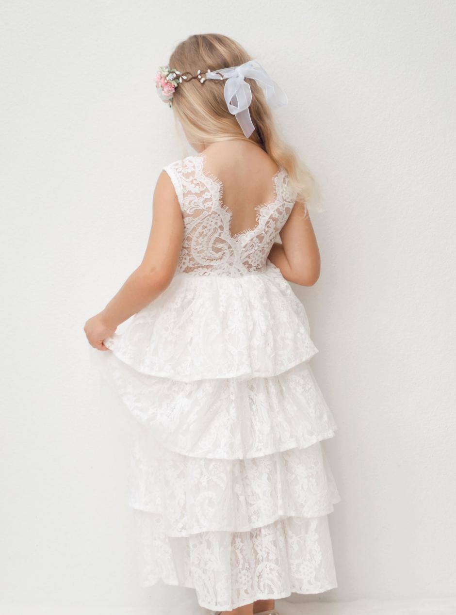 Girls White Odette Lace Tiered Flower Girl Dress