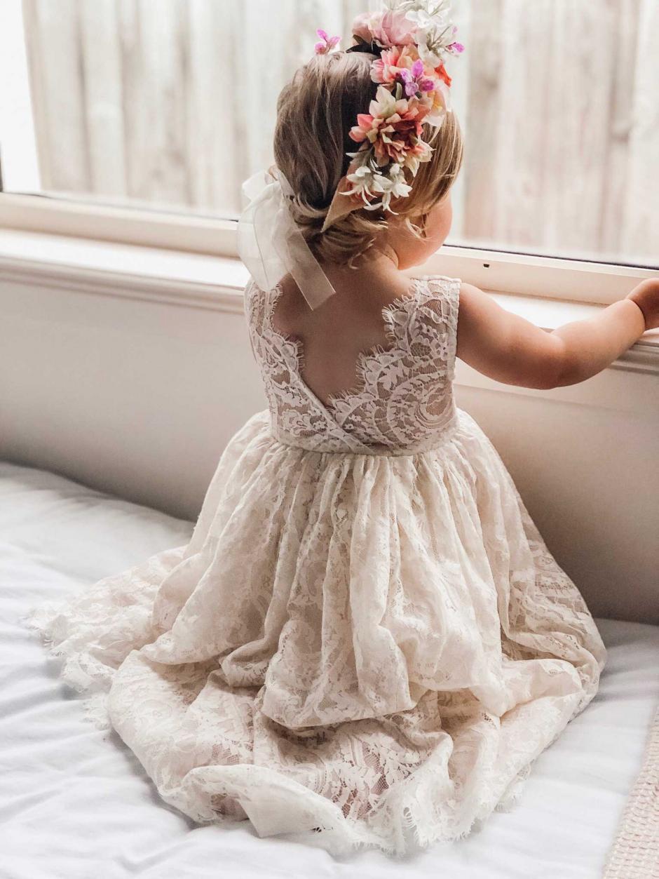 Girls Cream Charlotte Lace Back Flower Girl Dress