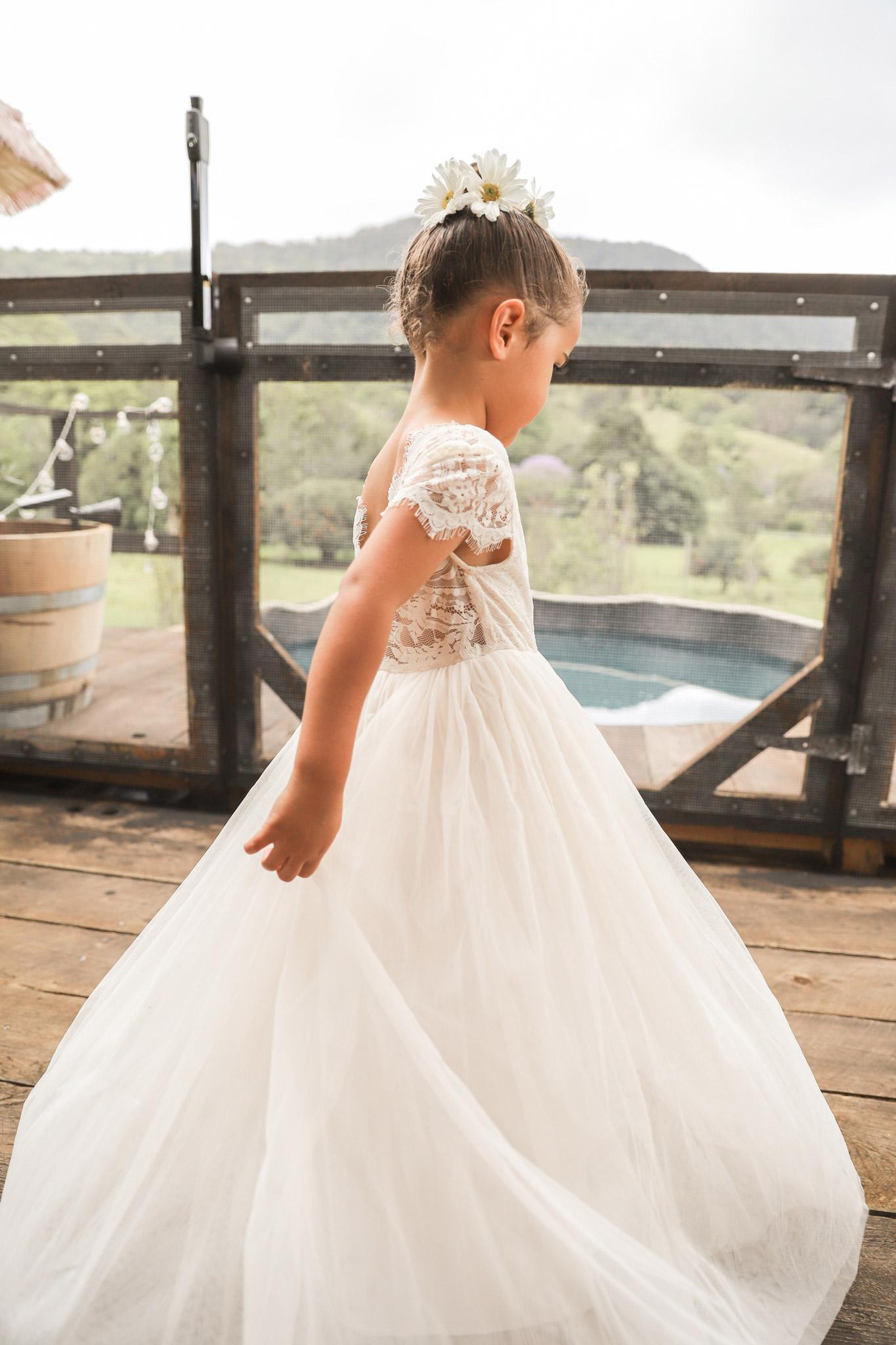 Girls Cream Magnolia Capped Sleeve Lace Back Flower Girl Dress