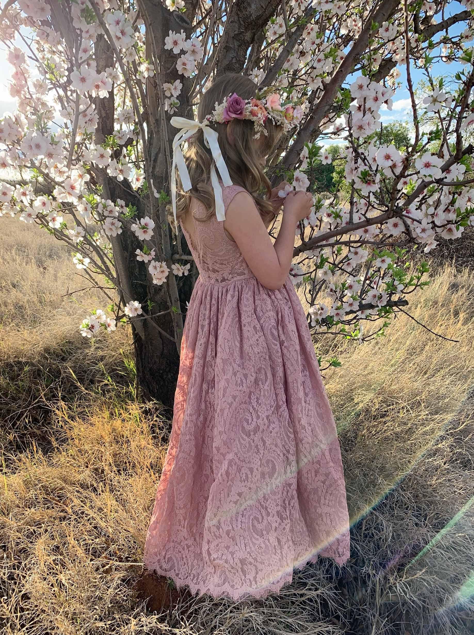 Dusty Rose Charlotte Lace Back Dress2