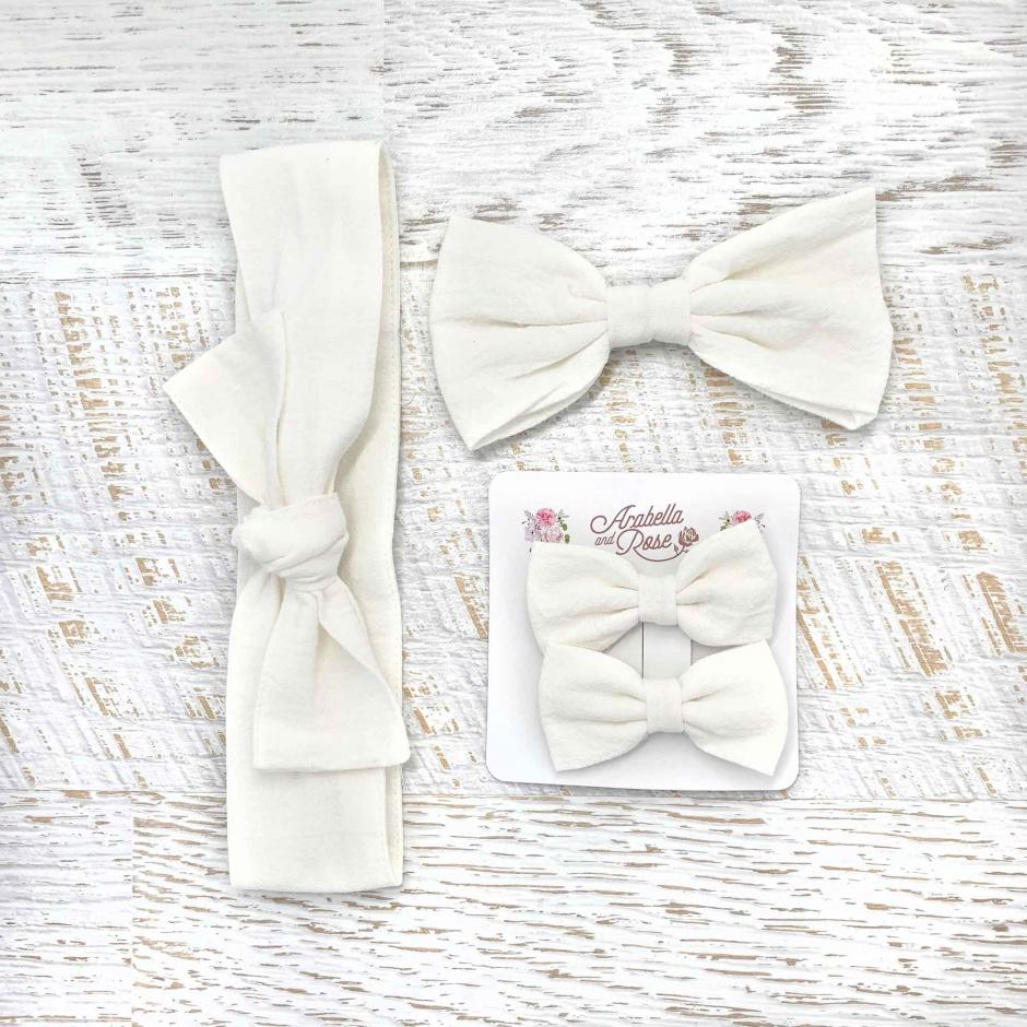 Ivory Linen Accessories - Head Wrap, Large Bow and Mini Bow Set