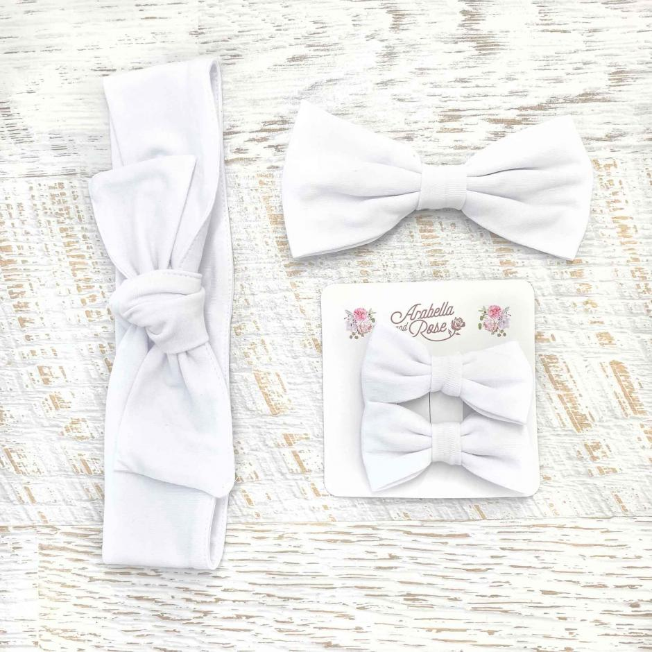 Plain White Accessories - Head Wrap, Large Bow and Mini Bow Set